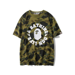 Men-BAPE-Camouflage-Short-Sleeve-A-Bathing-Ape-Shark-Head-Round-Collar-T-shirt