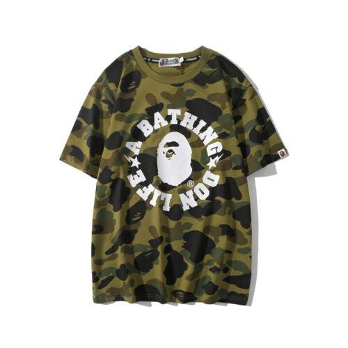 Green Camouflage A Bathing Ape BAPE Ape Head Round Collar Short Sleeves T-Shirt