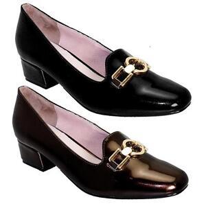 Raisonnable Brevet De Femmes à Enfiler Boucle Dorée Mesdames Smart Chaussures Talon Massif Mocassins-afficher Le Titre D'origine