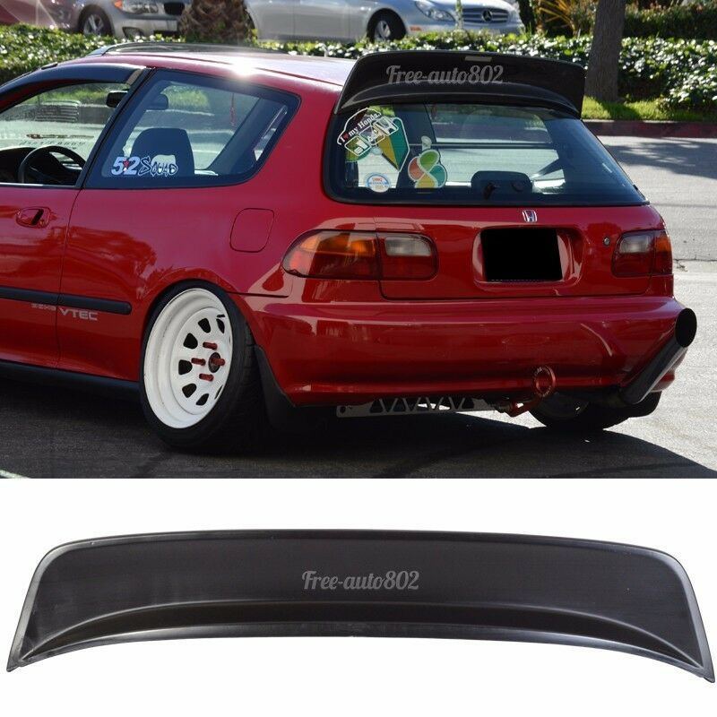 Cuztom Tuning Fits for 1992-1995 Civic 3 Door Hatchback Painted Glossy Black BYS Style Highkick Duckbill Rear Spoiler Wing