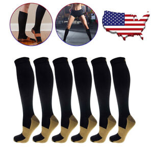 4-Pairs-Compression-20-30mmHg-Support-Socks-Relief-Miracle-Calf-Men-039-s-Women-039-s