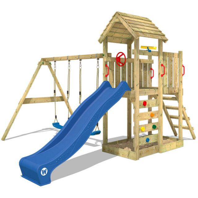 WICKEY Spielturm Kletterturm MultiFlyer Holzdach – Stelzenhaus Schaukel Garten
