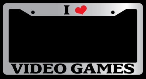 """Chrome License Plate Frame /""""I Heart Video Games/"""" Auto Accessory Novelty 10"""