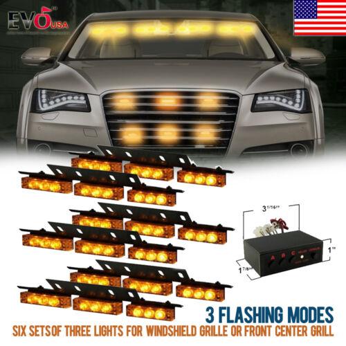 54 LED Car Truck Strobe Emergency Warning Light for Deck Dash Grill Yellow Amber
