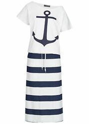 B19076509 Damen Violet Outfit 2er Set Anchor Print Shirt & Skirt weiß navy blau