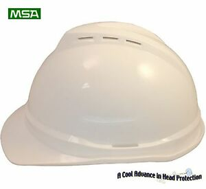 MSA-Cap-Style-Advance-Vented-V-Gard-Hard-Hat-034-WHITE-034-With-Ratchet-Susp