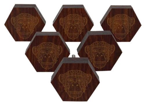 IBA Monkey Animal Engraved Pack of 10 Wood Wardrobe Door Knobs TEX17A