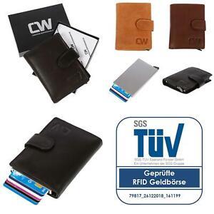 Herren-RFID-echt-Leder-Kreditkartenetui-Geldboerse-Brieftasche-TUV-gepr-Schwarz
