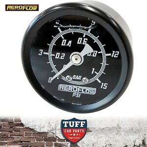 Aeroflow-Black-0-15-PSI-Liquid-Filled-Carb-Fuel-or-Oil-Pressure-Gauge-1-8-034-NPT