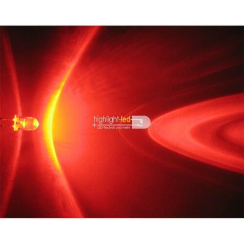 """100 rote LEDs 5mm wasserklar Leuchtdioden rot Typ /""""WTN-5-12000r/"""" red rouge rosso"""