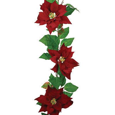 Velvet Poinsettia Christmas Garland Red 180cm / 6ft WAS £14.99