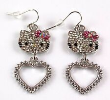 Hello Kitty Silver Pink Bow Swarovski Crystal Dangle Earrings Fashion Jewelry