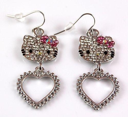 Hello Kitty Argent Noeud Rose Cristal Dangle Earrings Fashion Jewelry