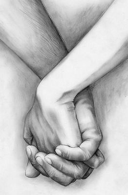 Large Framed Print Pencil Sketch Drawing Of A Couple Holding Hands Picture Ebay
