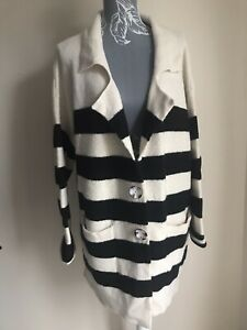 Atmosphere-Womens-Cardigan-Size-18-20-Cream-Black-Striped-Collared-With-Pockets