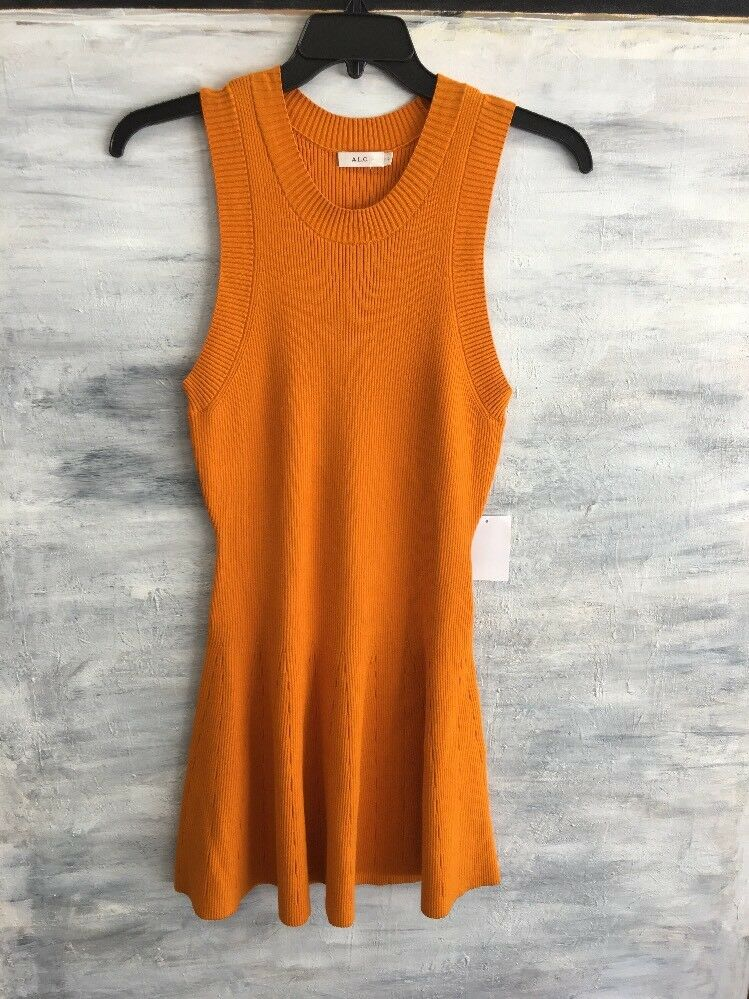 NWOT  Nordstrom A.L.C. Sleeveless STRETCH Knit Sweater Dress, Größe L - Orange