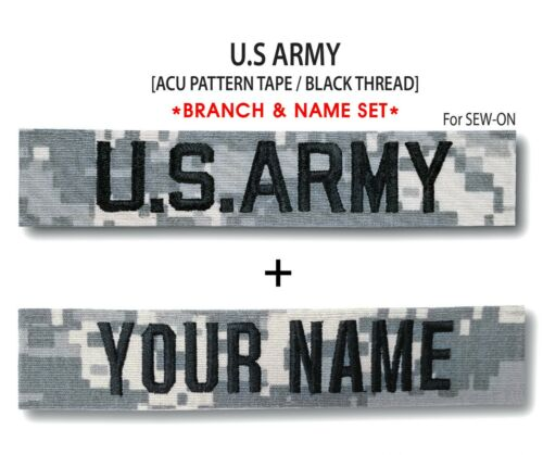 For Sew-On *Name is Required* ACU US ARMY Branch /& Name Tape