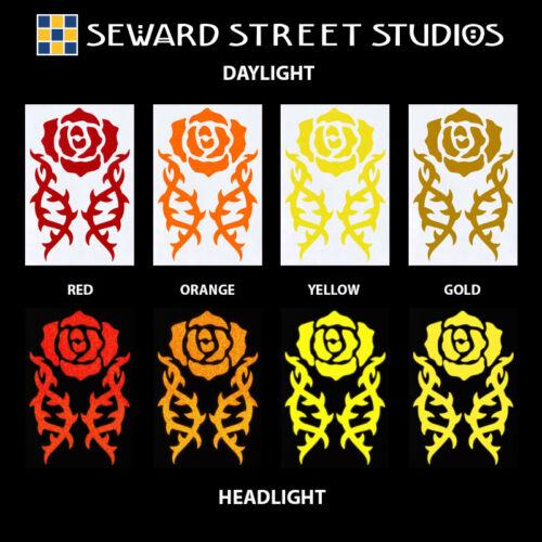 Tribal Rose Hyper Reflective Decal Set Helmet Stickers  #0697R