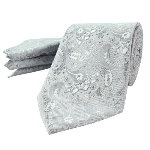 Mens White Paisley Silver Floral Paisley Silk FREE Wedding Hanky