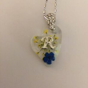 Heart shaped pendant with real flowers and your name initial r ebay image is loading heart shaped pendant with real flowers and your thecheapjerseys Gallery