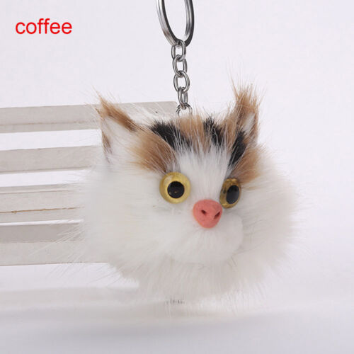 Fluffy Keychains Cute Cat Key Chain Pompom Fur Car Keyring Bag Pendant