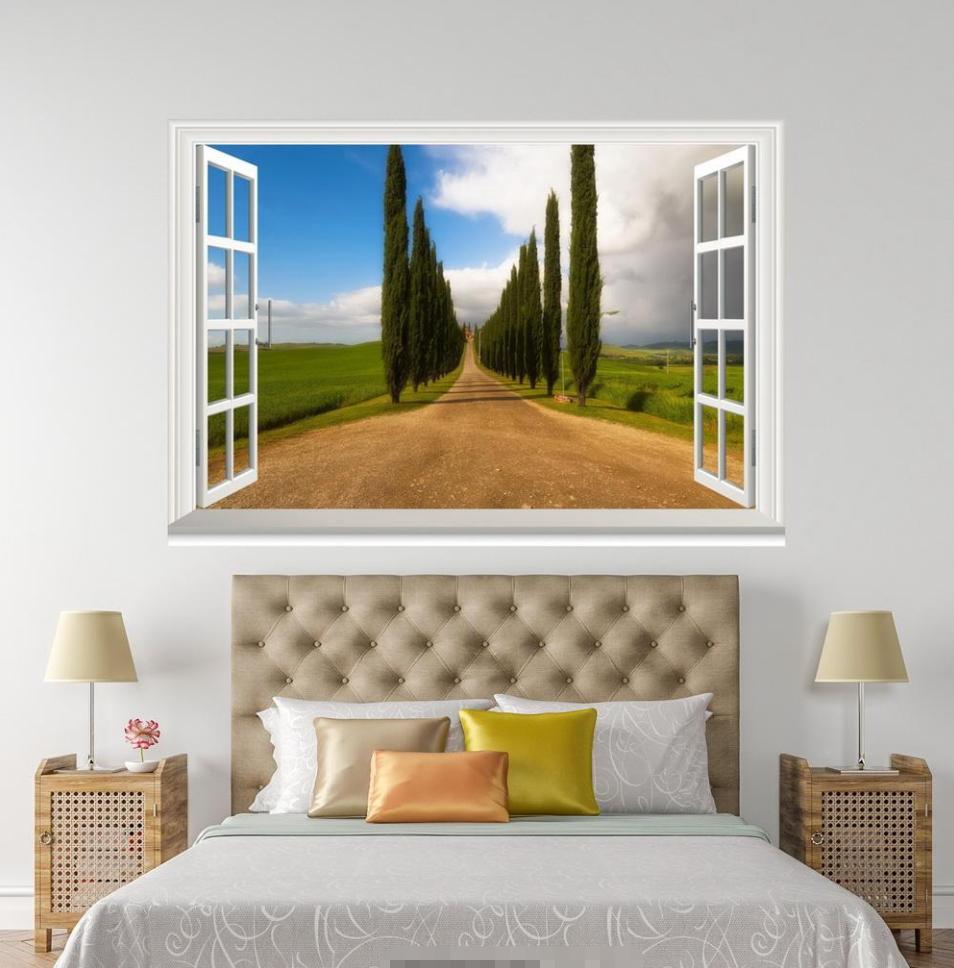 3D Grün Pine Road Sky 148 Open Windows WallPaper Wandbilder Wall Print AJ Jenny