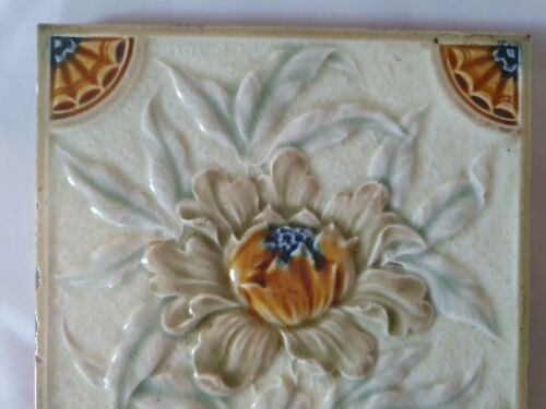 2 AVAIL STUNNING /& UNUSUAL MAJOLICA FLORAL DESIGN ENGLISH VICTORIAN 6 INCH TILE