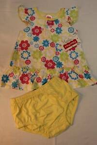 NEW-Baby-Girls-2-pc-Set-0-3-Mo-Flower-Dress-Diaper-Cover-Outfit-Yellow-Floral
