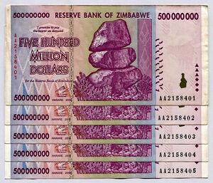Image Is Loading Zimbabwe 500 Million Dollars X 5 Notes 2008