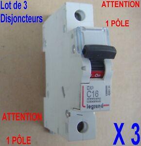 Lot-de-3-Disjoncteurs-Legrand-4091-14-MCB-DX3-10000-1Pole-230-400-V-16-A