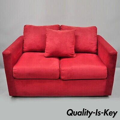 Red Microfiber Single Twin Pullout Leggett & Platt Sofa Bed Loveseat | eBay