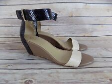 Ann Taylor Wedge Ankle Strap Open Toe White Black Animal Print Heels Size 8.5 M