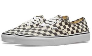 Vans-Men-039-s-Authentic-Blur-Check-Sneakers-Black-Textile-Classic-White