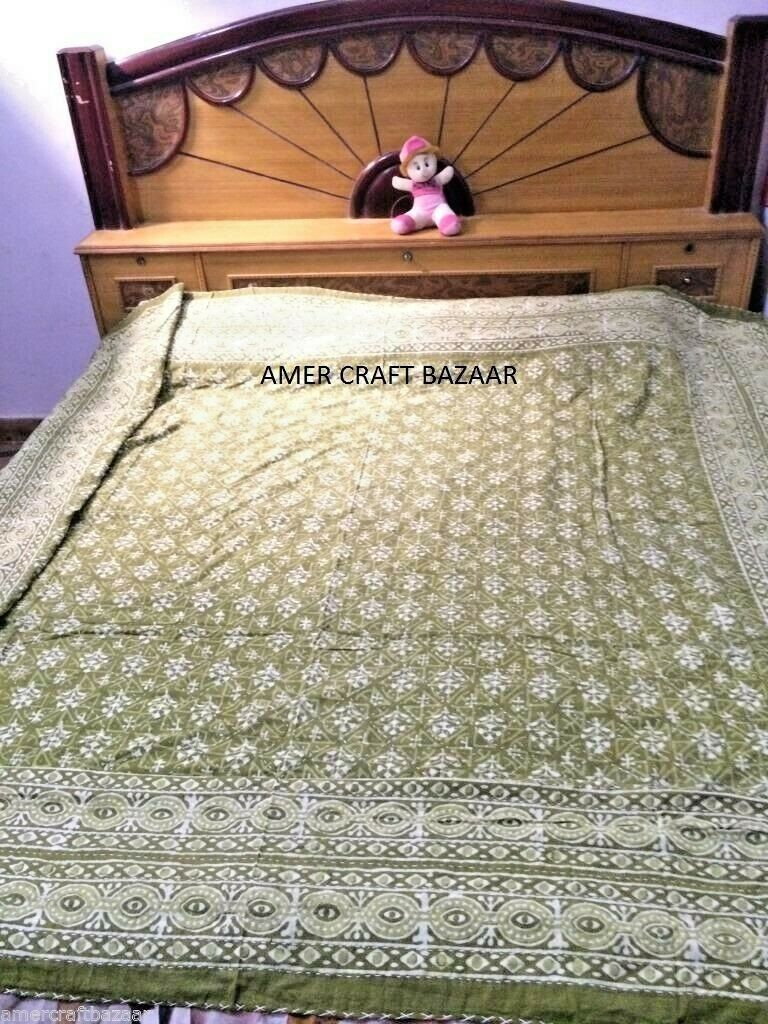 Indian Handmade Quilt Vintage Kantha Bedspread Throw Cotton Blanket Gudri Queen