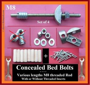 Concealed M8 bed bolts REPLACEMENTS. Half Moon washer/Dowels/screws NO INSERTS