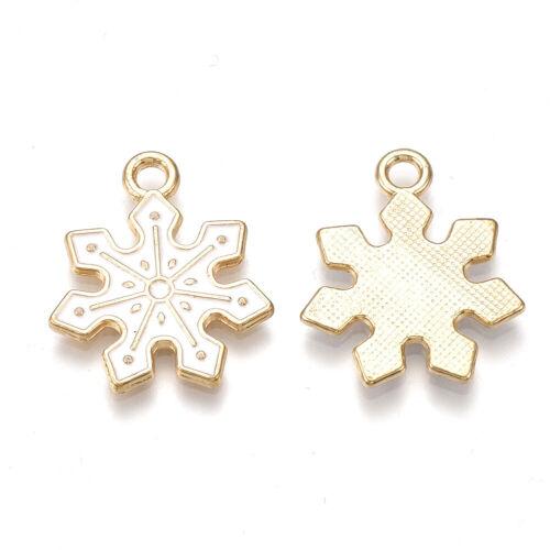 10xAlloy Snowflake Pendants Light Gold Mini Dangle Charms Jewelry Making 21x18mm