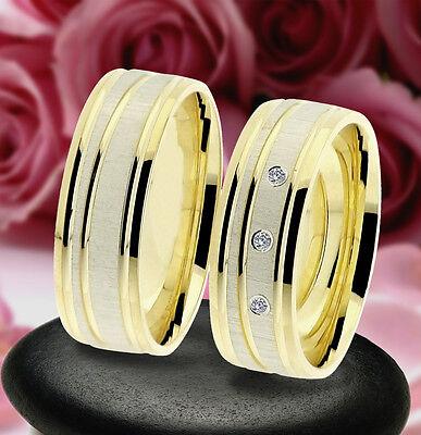 Warnen 2 Trauring Eheringe Verlobungsringe Gold Platiert *, J227-3 Hell Und Durchscheinend Im Aussehen