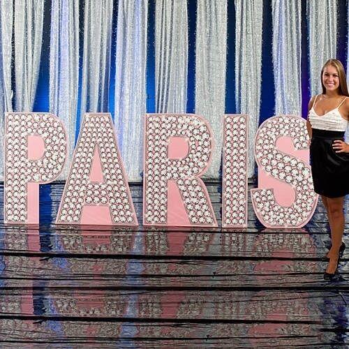 Party in Paris  Parisian Glittering Diamond Letters Cardboard Cutout Decoration
