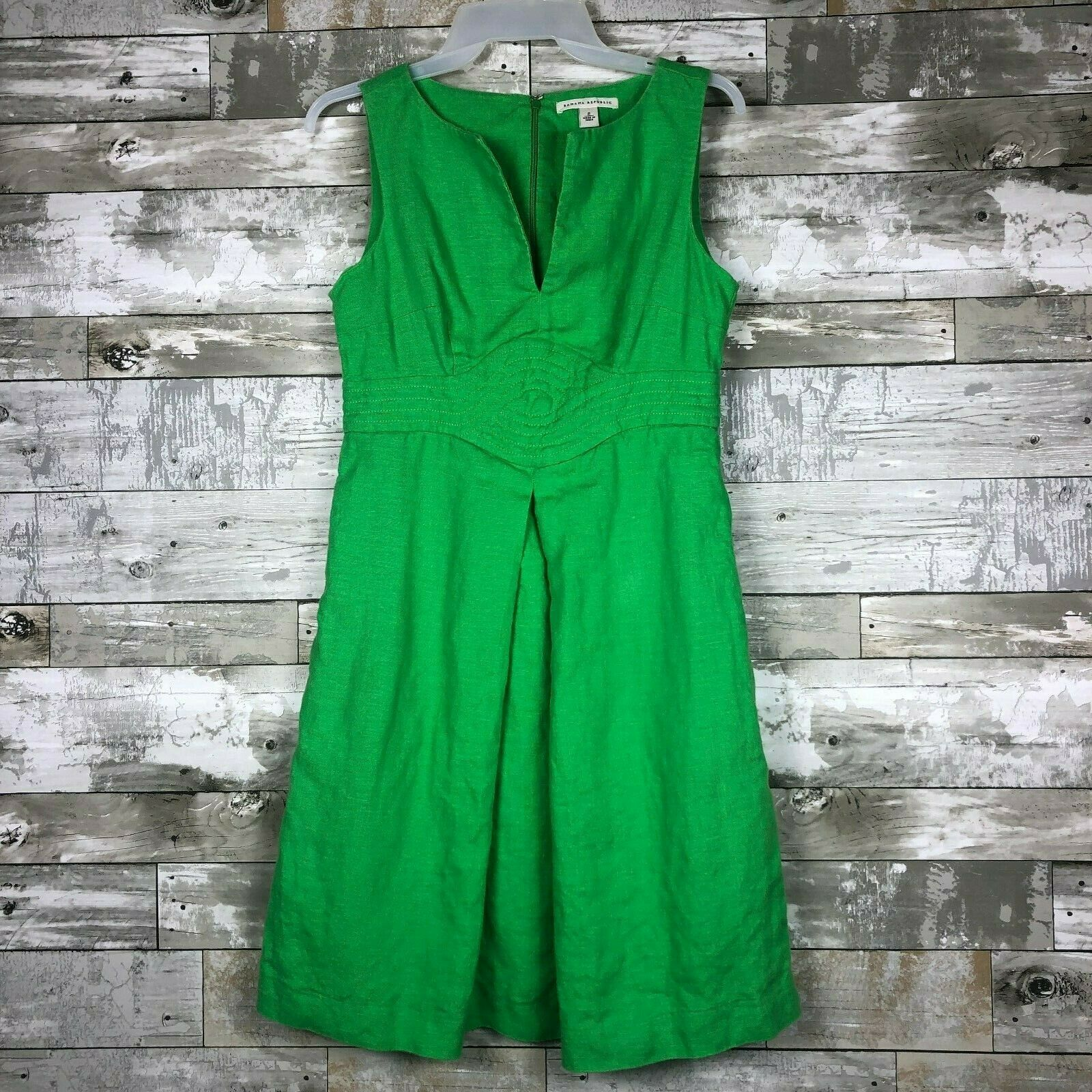 Women's Banana Republic Sleeveless Linen Dress sz 2 green v-neck
