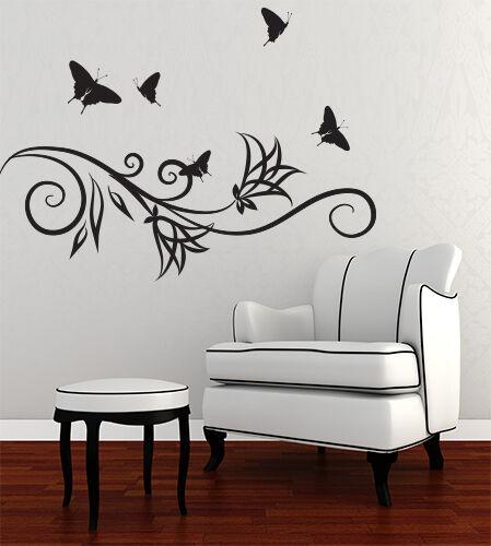 00885 Wall Stickers Sticker Adesivi Murali Ramo stilizzato con farfalle 100x73cm
