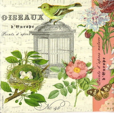 4x Paper Napkins for Decoupage Decopatch Vintage Oiseaux