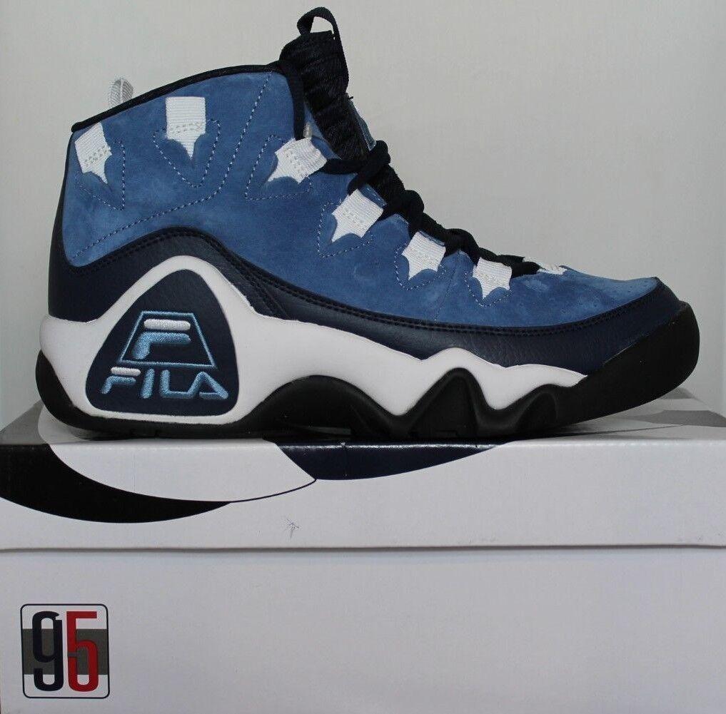 Para Hombre Fila 95 Slip Grant Hill Retro Clásico Zapatos de baloncesto Tinta Azul Claro blancoo