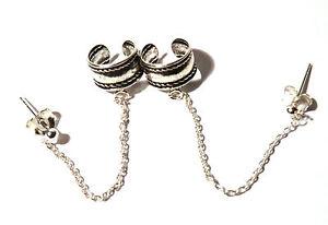 Ohrklemme-mit-Kette-Ohrring-925-Sterling-Silber-Biker-Ohrstecker-Ear-Cuff-Neu