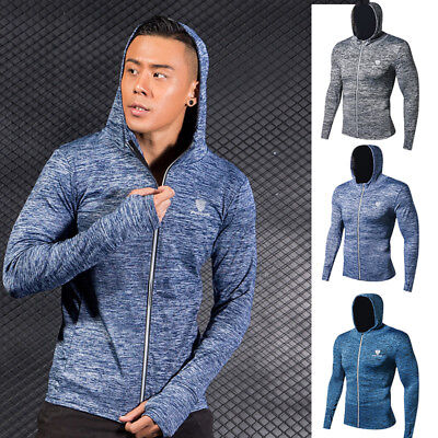 Men Sports Hoodie Long Sleeve with Thumbhole Shirt Tight fit Zip Up Training Top