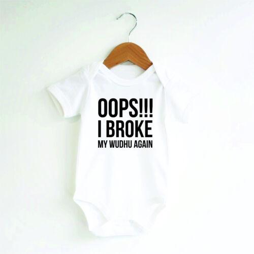 Oops I broke my wudhu again Vest bodysuit baby grow romper modern unisex
