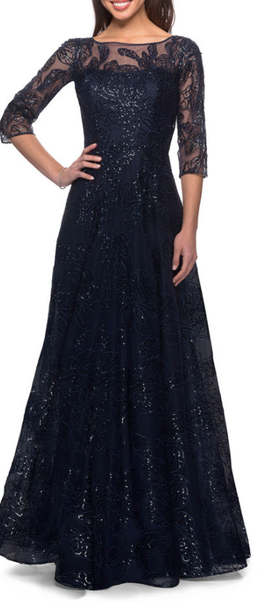 NWT- La Femme Navy A-Line Lace Sequin Gown- Dress- 3/4 Sleeves, Pockets- Size 6