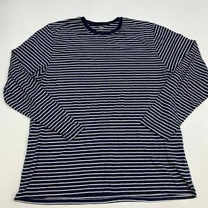 Old-Navy-Shirt-Mens-2XL-XXL-Navy-White-Long-Sleeve-Crew-Neck-Cotton-Striped-Tee