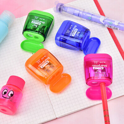 Double Hole Plastic Colour Pencil Sharpener Container School Office Station bc