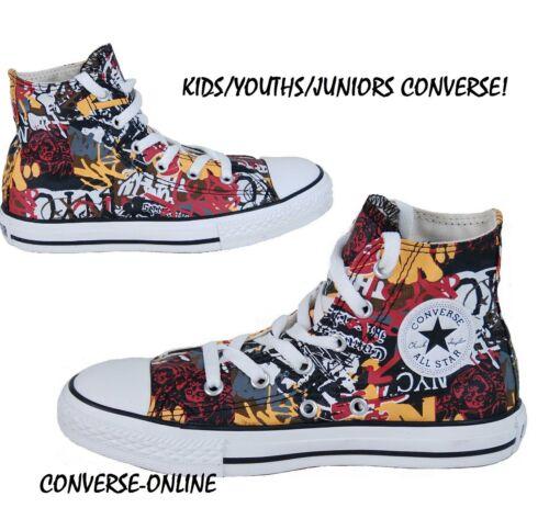 Garçons Graffiti Haut Enfants Taille Fille Converse Mur Baskets Star Club 2 Uk All dww80x