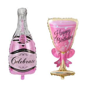 Détails Sur Lc Bouteille De Champagne Verre Feuille Ballon Joyeux Anniversaire Mariage Fête